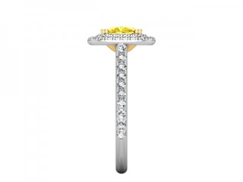 Double Halo Fancy Cushion Diamond Ring - Custom Rings Dallas 3