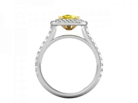 Double Halo Fancy Cushion Diamond Ring - Custom Rings Dallas 4
