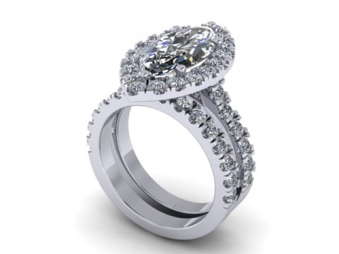 Marquise Cut Diamond Halo Engagement Rings - 1