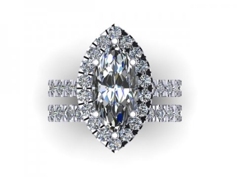 Marquise Cut Diamond Halo Engagement Rings - 2