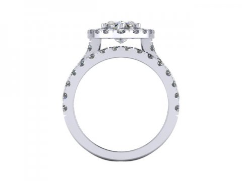 Marquise Cut Diamond Halo Engagement Rings - 4