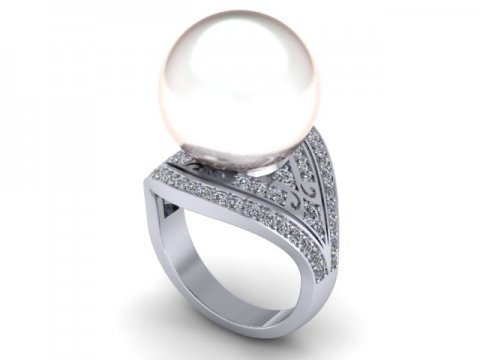 Pearl Custom Diamond Engagement Rings in Dallas Texas 1