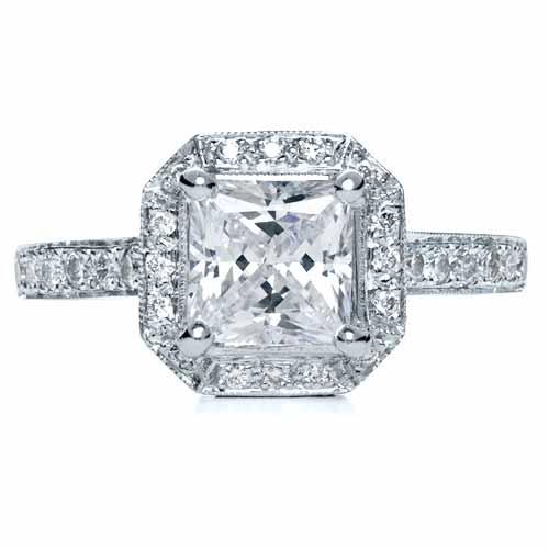 Princess Cut with Diamond Halo Engagement Ring