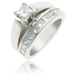 Princess Diamond Ring - Solitaire Princess Diamond Ring Set - Dallas 1