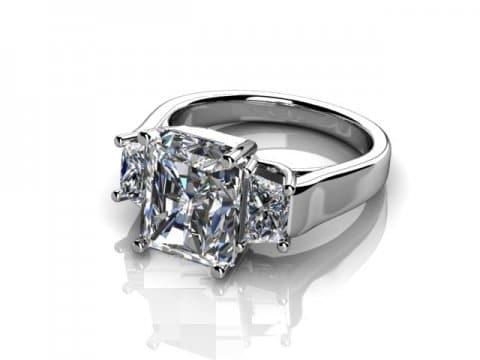 Three Stone Radiant Cut Engagement Ring 1 , Shira Diamonds