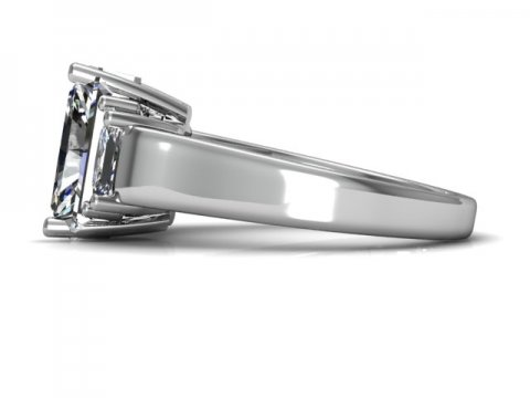Three Stone Radiant Cut Engagement Ring 2