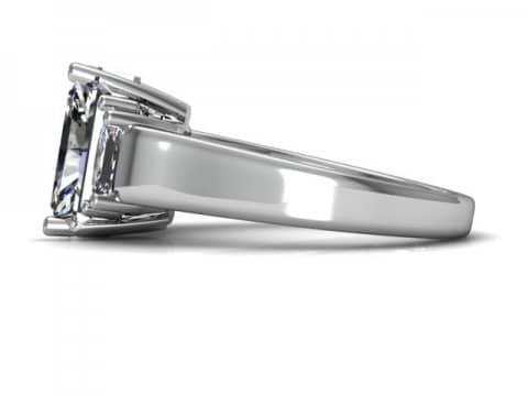 Three Stone Radiant Cut Engagement Ring 2, Shira Diamonds
