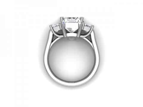 Three Stone Radiant Cut Engagement Ring 3, Shira Diamonds