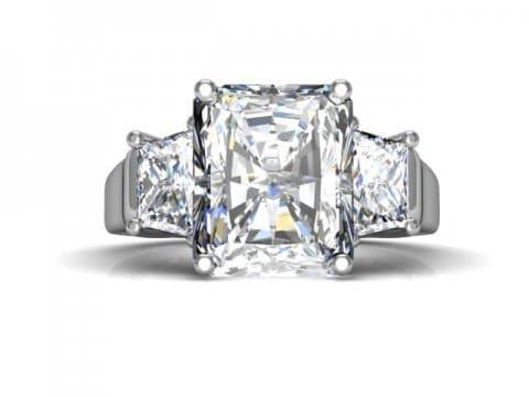 Three Stone Radiant Cut Engagement Ring 4, Shira Diamonds