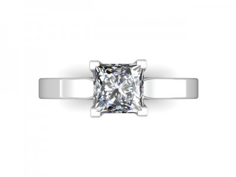 Wholesale Princess Diamond Ring Solitaire Engagement Ring - 14kt White Gold Ring Dallas 4