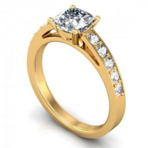 Yellow Gold Cushion Engagement Ring - Custom Engagement Ring - Allen, Texas 1