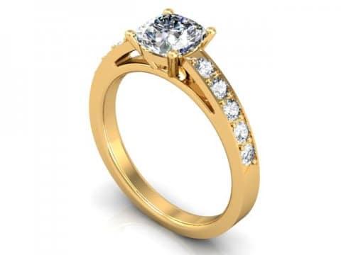 Yellow Gold Cushion Engagement Ring - Custom Engagement Ring - Allen, Texas 1