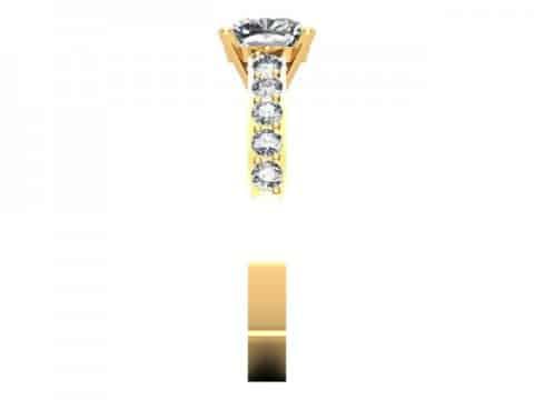 Yellow Gold Cushion Engagement Ring - Custom Engagement Ring - Allen, Texas 2