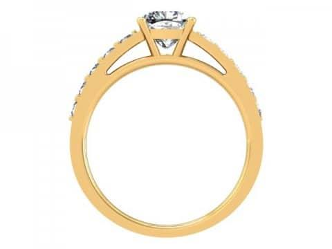Yellow Gold Cushion Engagement Ring - Custom Engagement Ring - Allen, Texas 3