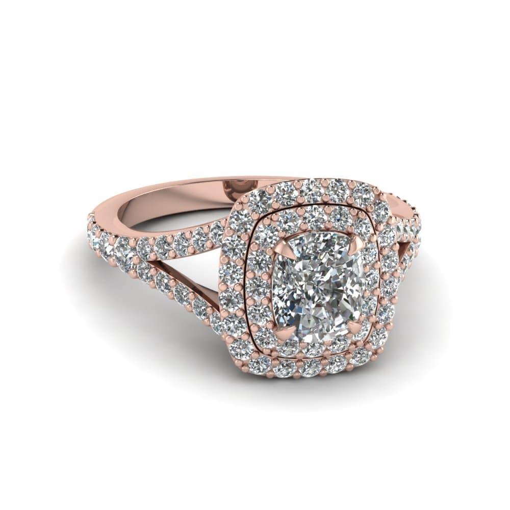 Cushion Cut Double Halo Engagement Rings Dallas, Shira Diamonds