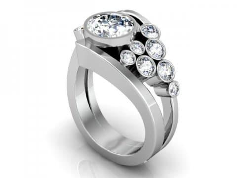 Custom Bezel Diamond Engagement Ring Prosper Texas 1, Shira Diamonds