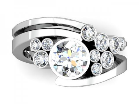 Custom Bezel Diamond Engagement Ring Prosper Texas 4, Shira Diamonds