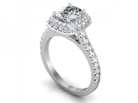 Custom Cushion Halo Engagement Ring 1 1 1, Shira Diamonds
