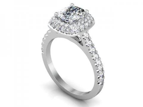 Custom Cushion Halo Engagement Ring 1 1 1, Shira Diamonds