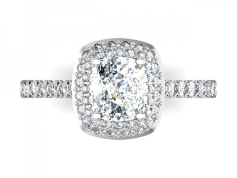Custom Cushion Halo Engagement Ring 4 1, Shira Diamonds