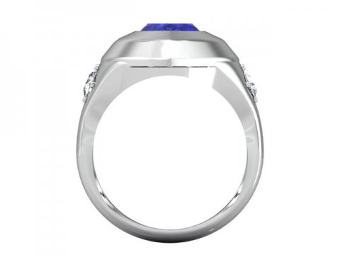 front view of a Blue Sapphire gemstone in the middle of a Diamond Engagement Ring - Shira Diamonds Dallas