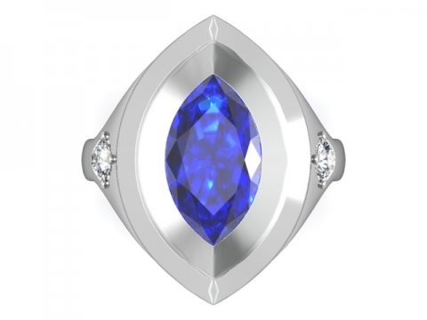 upper view of Blue Sapphire gemstone in the middle of a Diamond Engagement Ring - Shira Diamonds Dallas