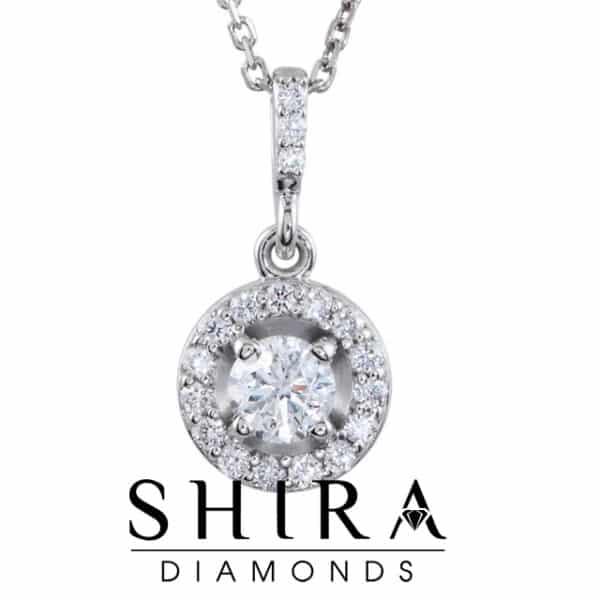 1 CTW 14k Round Diamond Necklace Pendant Dallas Texas 2