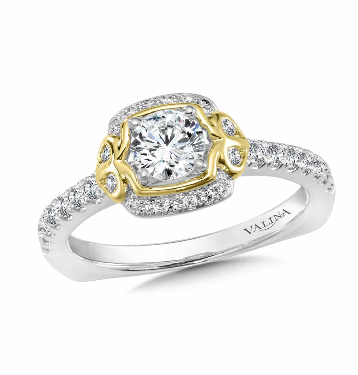 Custom Bezel Round Diamond Engagement Ring with a 1 carat halo - custom design