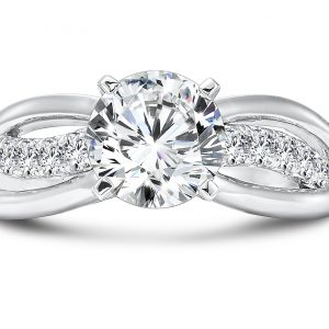 Custom Round Split Shank Diamond Ring